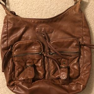 BROWN FAUX LEATHER BOOKBAG